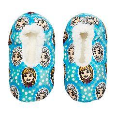 Disney's Frozen Anna & Elsa Toddler Girl Bow Fuzzy Babba Slipper Socks