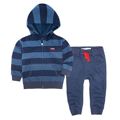 Baby Boy Levi's Striped Zip Hoodie & Pants Set