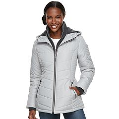 Women's d.e.t.a.i.l.s Hooded Bib Inset Quilted Jacket
