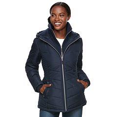 Women's d.e.t.a.i.l.s Hooded Bib Inset Quilted Jacket
