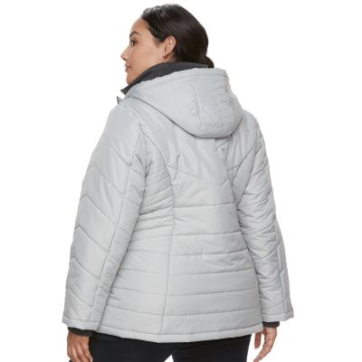 Plus Size d.e.t.a.i.l.s Hooded Bib Inset Quilted Jacket