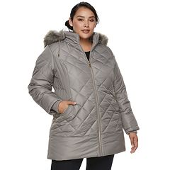Plus Size d.e.t.a.i.l.s Hooded Quilted Walker Jacket