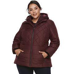 Plus Size d.e.t.a.i.l.s Hooded Bib Inset Puffer Jacket
