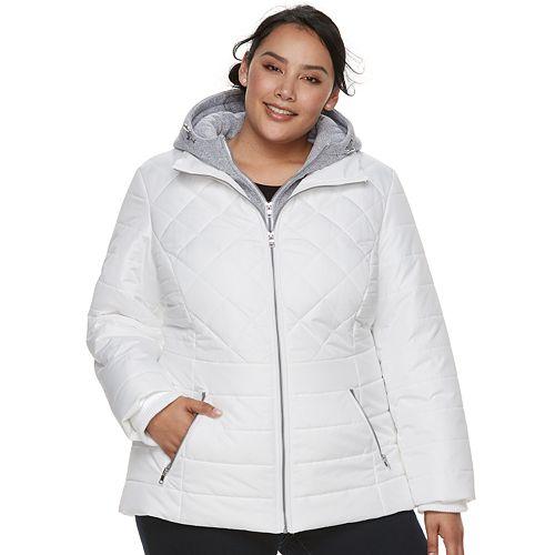 ec4b8f87528 Plus Size d.e.t.a.i.l.s Hooded Bib Inset Puffer Jacket