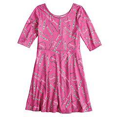 Girls 7-16 & Plus Size SO® Elbow Sleeve Graphic Print Skater Dress