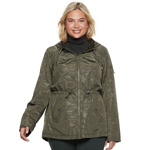 1edb2536279 Plus Size Weathercast Faux-Fur Trim Hooded Rain Jacket