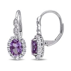 14k White Gold Lab-Created Alexandrite & White Topaz Leverback Earrings