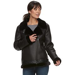 Women's Sebby Collection Faux-Shearling Trim Moto Jacket