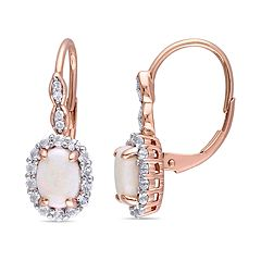 14k Rose Gold White Opal & White Topaz Leverback Earrings