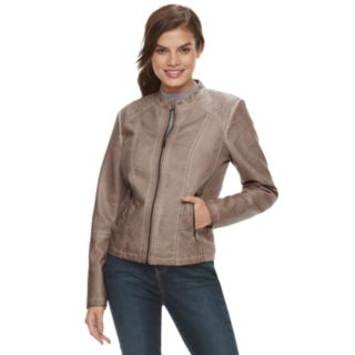 Women's Sebby Collection Trapunto Faux-Leather Moto Jacket