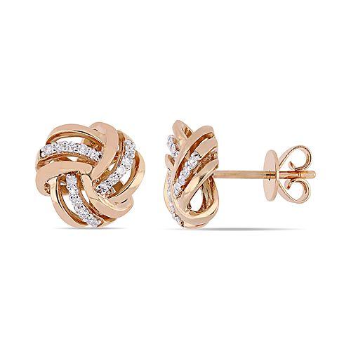 Stella Grace 14k Rose Gold 1/6 Carat T.W. Diamond Love Knot Stud Earrings