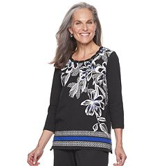 Women's Alfred Dunner Studio Floral Stripe-Hem Top