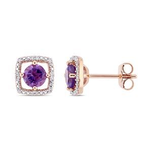 Stella Grace 10k Rose Gold Amethyst & Diamond Accent Frame Earrings