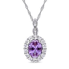 14k White Gold Lab-Created Alexandrite White Topaz Halo Pendant Necklace