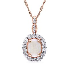 14k Rose Gold White Opal White Topaz Halo Pendant Necklace