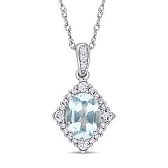 Stella Grace 10k White Gold Blue Topaz 1/10 Carat T.W. Diamond Halo Pendant Necklace