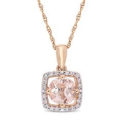 Stella Grace 10k Rose Gold Morganite 1/10 Carat T.W. Diamond Frame Pendant Necklace