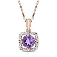 Stella Grace 10k Rose Gold Amethyst 1/10 Carat T.W. Diamond Frame Pendant Necklace