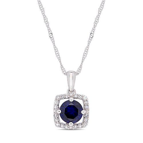 Stella Grace 10k White Gold Lab-Created Sapphire 1/10 Carat T.W. Diamond Frame Pendant Necklace