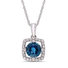 Stella Grace 10k White Gold London Blue Topaz 1/10 Carat T.W. Diamond Frame Pendant Necklace