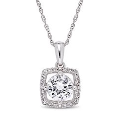 Stella Grace 10k White Gold Lab-Created White Sapphire 1/10 Carat T.W. Diamond Frame Pendant