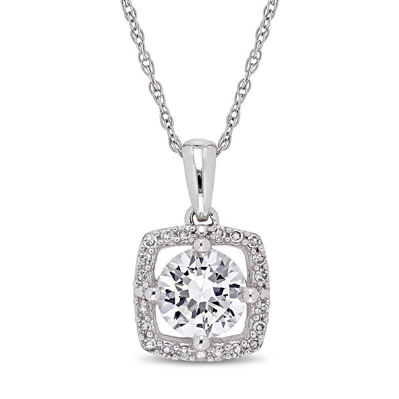 "Stella Grace 10k White Gold Lab-Created White Sapphire 1/10 Carat T.W. Diamond Frame Pendant, Women's, Size: 17"""