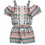 Girls 7-16 My Michelle Printed Crochet Ruffle Romper