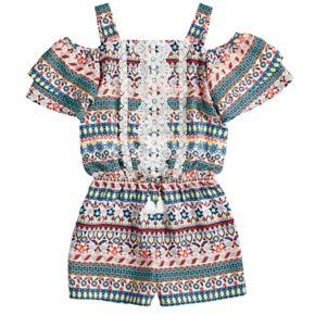 Girls 7-16 My Michelle Printed Crochet Ruffle Romper
