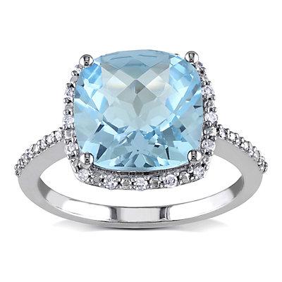 Stella Grace 10k White Gold 1/10 Carat T.W. Diamond Sky Blue Topaz Cocktail Ring