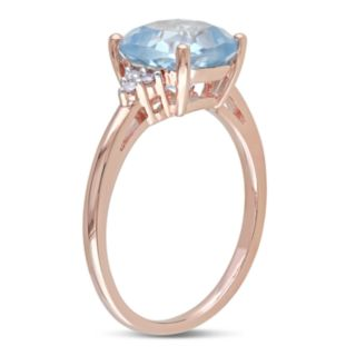 Stella Grace 10k Rose Gold Sky Blue Topaz Diamond Accent Ring