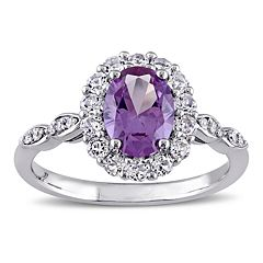 14k White Gold Lab-Created Alexandrite & White Topaz Halo Ring