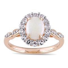 14k Rose Gold White Opal & White Topaz Halo Ring