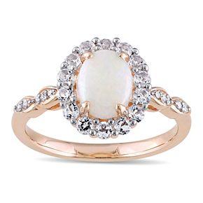 Stella Grace 14k Rose Gold White Opal & White Topaz Halo Ring