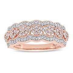 10k Rose Gold 1/2 Carat T.W. Diamond Flower Ring