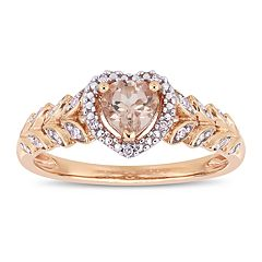 Stella Grace 10k Rose Gold Morganite & Diamond Accent Heart Ring