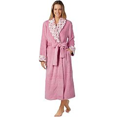 Women's Stan Herman Jacquard Collar Plush Robe