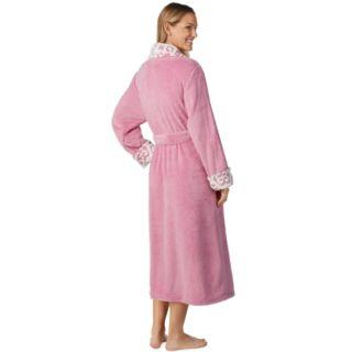 Women's Stan Herman Jacquard Collar Plush Robe