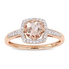Stella Grace 10k Rose Gold 1/8 Carat T.W. Diamond Morganite Frame Ring