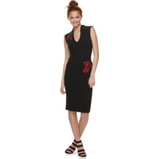 Juniors' Almost Famous Rose Applique Bodycon Dress