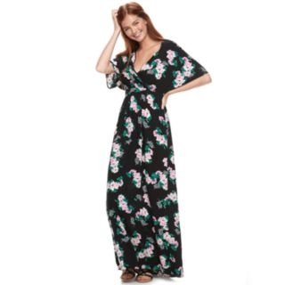 Juniors' Love, Fire Printed Kimono Sleeve Maxi Dress