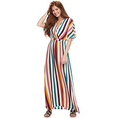 Juniors' Love, Fire Printed Kimono Sleeve Maxi Dress