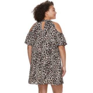 Juniors' Plus Size Lily Rose Cheetah Print Cold-Shoulder Shift Dress & Necklace Set