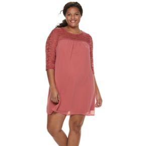 Juniors' Plus Size Lily Rose Lace Shift Dress