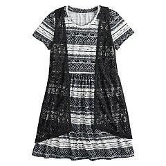 Girls 7-16 Mudd® Crocheted Vest & Knit Dress Set