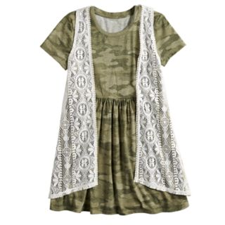 Girls 7-16 Mudd® Crocheted Vest & Knit Dress Set
