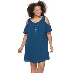 Juniors' Plus Size Lily Rose Cold-Shoulder Shift Dress & Necklace Set