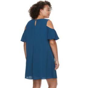 Juniors' Plus Size Lily Rose Cold-Shoulder Shift Dress & Necklace Set