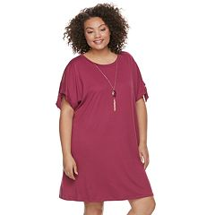 Juniors' Plus Size Lily Rose Tie-Sleeve Shift Dress & Necklace Set