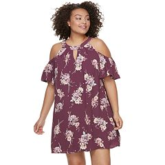 Juniors' Plus Size Lily Rose Keyhole Floral Cold-Shoulder Shift Dress