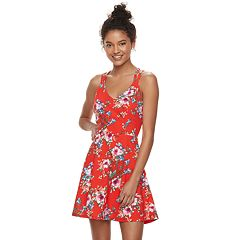 Juniors' Trixxi Strappy Floral Skater Dress
